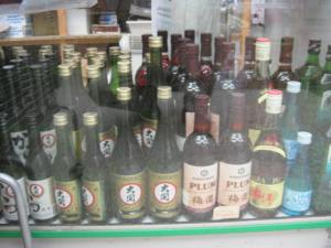 Bottles of soju and sake at K-Mart