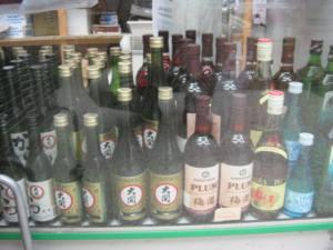 Bottles of soju and sake at K-Mart